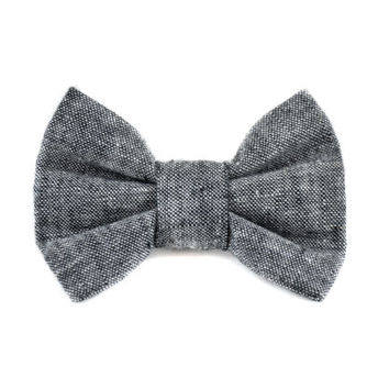 Chambray Dog Bow Tie - Detachable Linen Bow Tie Grey Black Denim Bow for Cats and Dogs