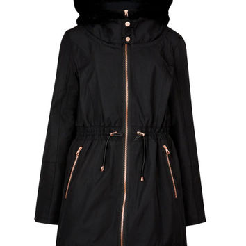 RUYE - Faux fur parka - Black | Womens | Ted Baker UK