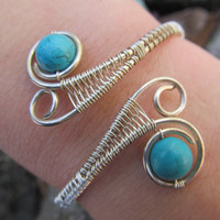 Turquoise Sterling Silver Double Spiral Bracelet- Blue Beaded Wire Wrapped Weave Cuff Bangle- Handmade Gemstone Gypsy Wedding Jewelry