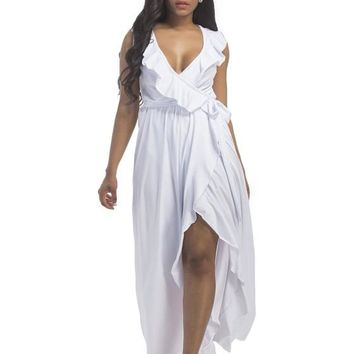 White Ruffle Sashes Deep V-neck Slit Irregular Plus Size Maxi Dress
