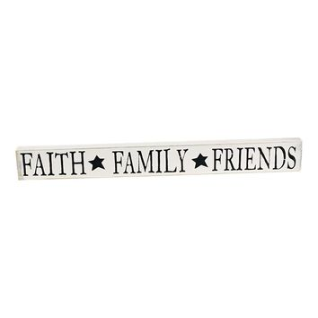 Faith, Family, Friends Rustic Wood Sign