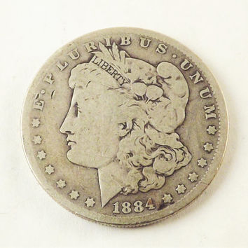 1884 Morgan Silver Dollar Collectible Coin, 1884 One Dollar Coin Philadelphia Mint, Vintage Coin