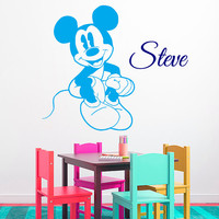 Cartoon Wall Decals Mouse Vinyl Decal Sticker Custom Boy Personalized Name Kids Room Interior Design Children Nursery Bedding Decor KG919