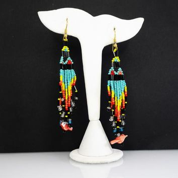 Fetish Bird Beaded Earrings, Dangling Strand Shoulder Dusters, Multi Colored Glass Seed Beads, Vintage 1970s 1980s, BOHO Festival Jewelry