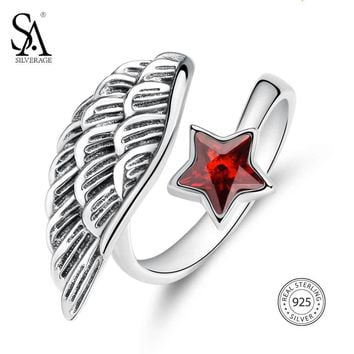SA SILVERAGE Real 925 Sterling Silver Vintage Feather Opening Rings for Women Original Handmade Ruby Star Adjustable Rings Set