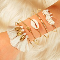 Shell & Tassel Decor Chain Bracelet 5pcs