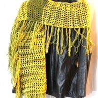 Fringed Scarf In Yellow and Green Italian Wool Blend Yarn