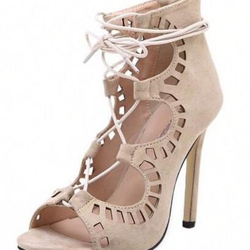 n Pumps Women Shoes Sandals Lace up High Heels Cut Outs  Summer Open Toe Sapato Femininos Plus size 43