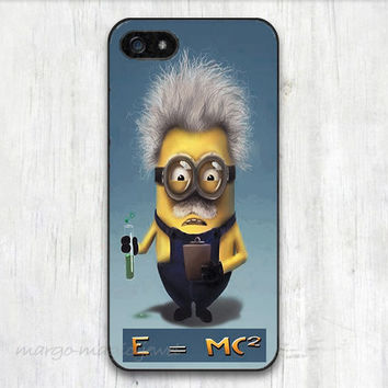 cover,case fits iPhone,iPod 5th models, ,Hard plastic case, Einstein minions,E=Mc2, school, funny minions,