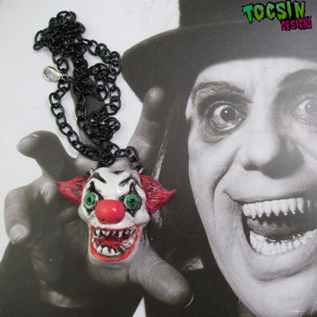 Evil Clown Necklace - horror jewelry - insane clown -  Evil Bozo the clown - freakshow scary clown costume psychobilly creepy clown carnival