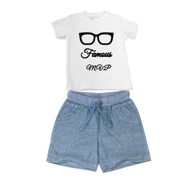 Baby, Toddler Boys Chambray Woven Denim Summer Shorts