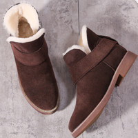 Grind arenaceous ugg boots female leather boots with velvet wool warm cotton shoes with flat sole Coffee