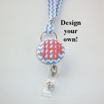 Lanyard ID Badge Holder with detachable reel - Skinny design - Design your own custom monogram Chevron zig zag gift for her