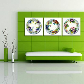 Modular Canvas Prints Pictures Wall Art Frameless 3 Pieces Beautiful Flower Plate Hotel Decoration Paintings Kitchen Artwork