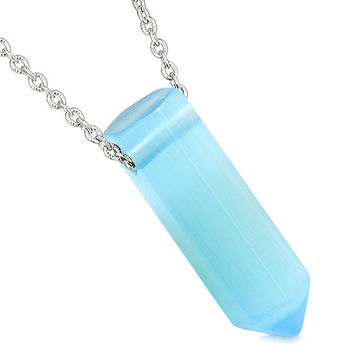 Amulet Lucky Crystal Point Wand Sky Blue Simulated Cats Eye Bullet Style Powers Pendant 18 Inch Necklace