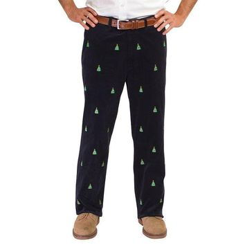 Beachcomber Corduroy Pants in Navy with Embroidered Christmas Trees by Castaway Clothing