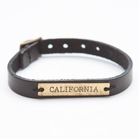 BLACK LEATHER BRACELET WITH CALIFORNIA PLATE