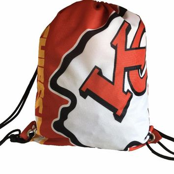 2017 New Fashion Drawstring Kansas City Chiefs Backpack Digital Printing Knitted Polyester Backpack