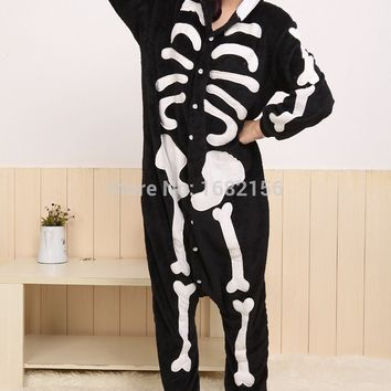New Skeleton Pajamas Animal Adult Onesuit Anime Skull Hoodies Pyjamas Cosplay Costume For Christmas Holloween Party