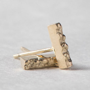 Bar Posts - Small Gold Textured Stud Earrings