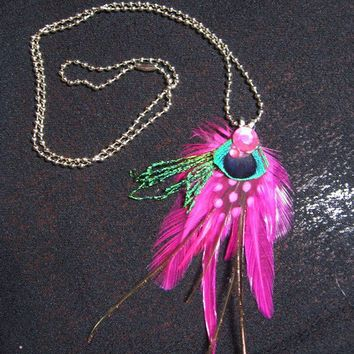 Feather Necklace Pink Punk Pixie