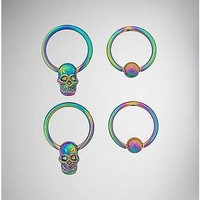 Rainbow Skull Captive Ring 4 Pack - 16 Gauge - Spencer's
