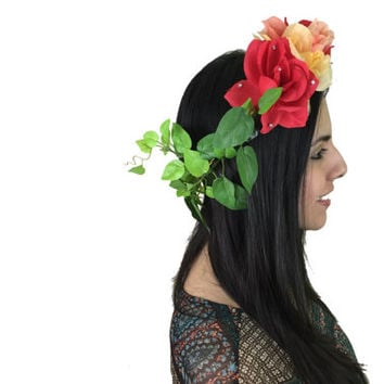 Beautiful roses with rhinestones and leaves flower crown perfect for the bohemian goddess