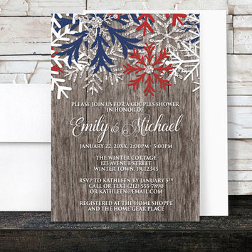 Winter Couples Shower Invitations Rustic - Country Wood Navy Blue and Maroon Red Snowflake design - Printed Invitations