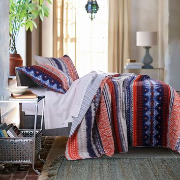 100% Cotton Boho 3 piece Quilt Set