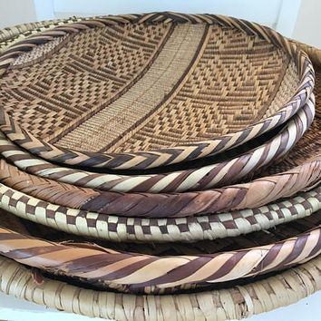 Set of 6 African Woven Flat Baskets, Tribal Wall Basket Collection, Vintage Wall Hanging Baskets