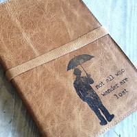 large leather journal sketchbook custom handprinted for by inblue