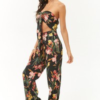 Tropical Floral Cutout Jumpsuit