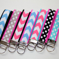 Chevron Key Fob Wristlet - Chevron Key Chain - Polka Dot Key Chain - Pink Blue Grey Black