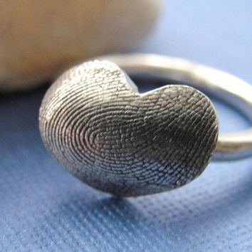 Fingerprint Small Heart Ring Sterling Silver by rockmyworldinc