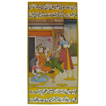 Rajasthan Miniature Painting On India Mughal King Love Life