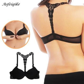 Sexy Front Closure Smooth Bras Charming Lace Racer Back Racerback Push Up women's Bras underwear intimates