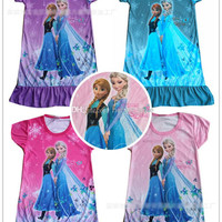 New 4 Colors Cartoon Girls Children Printed Princess Dress 3 pcs/lot Girls Baby Summer Fashion Cartoon Casual Dress