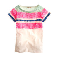 Girls' colorblock stripe-sequin tee - collectible tees - Girl's knits & tees - J.Crew