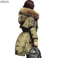 2017 Womens Winter Down Jackets and Coats Slim Hooded Women Down Jacket Real Raccoon Fur Collar ladies Parka overcoat Army Green