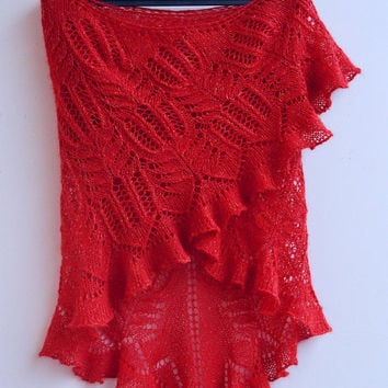 RED rose, big  knitted shawl, my inspiration, unique gifts, romantic feminine, women clothing, wedding acessories