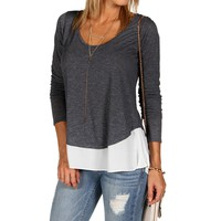Heather Gray Slit Back Top