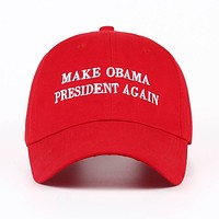 Make Obama President Again Red Embroidered Unstructured Cotton Dad Hat