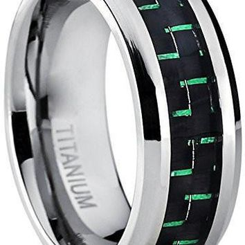 8MM Men's Titanium Wedding Band Ring with Black and Green Carbon Fiber Inlay, Comfort Fit