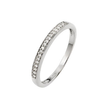 925 Sterling Silver Ladies Jewelry Small Band Ring w/ Clear Cubic Zirconia Micro Pave.Ring Width Is 2.1mm: Size: 5