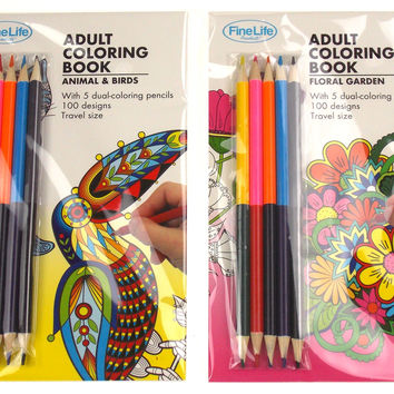 Adult Coloring Books Set 2 Animals Birds Floral Garden Colored Pencils FineLife