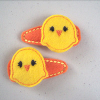 Easter Chicks Felt snap clip barrettes. Set of 2