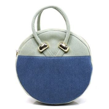 Denim Colorblock Round Convertible Backpack Tote