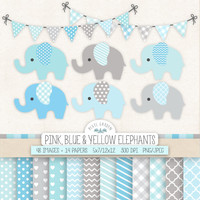 Blue Elephant Clip Art for Nursery, Baby Shower. Baby Boy Digital Paper, Banners in Blue, Gray, Mint. Pastel Chevron, Polka Dot Patterns