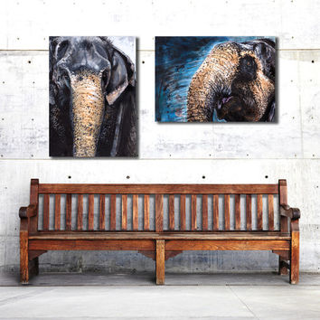 Elephant painting, 11x14, wildlife art, art poster, Canvas Prints, Set of 2, nature lovers gift, charity, mixed media art, acrylic, for men
