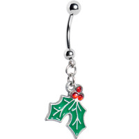 Holiday Mistletoe Dangle Belly Ring | Body Candy Body Jewelry